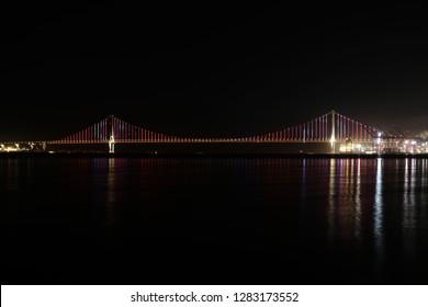 Osman Gazi Bridge (Izmit Bay Bridge). Osmangazi Bridge New Year Show Izmit, Kocaeli, Turkey