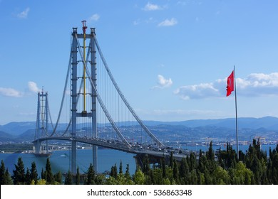 Osman Gazi Bridge (Izmit Bay Bridge). Izmit, Kocaeli, Turkey