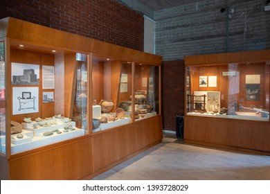 OSMANIYE, TURKEY, MAY 9, 2019: Interior detail from the covered museum section of Karatepe Open Air Museum, containing Hittite artifacts found from close proximity.