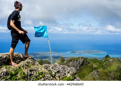 OSMENA PEAK, THE PHILIPPINES - December 1, 2015: An American Peace Corps Volunteer summits Osmena Peak, the tallest mountain in Cebu Province, on December 1, 2015.