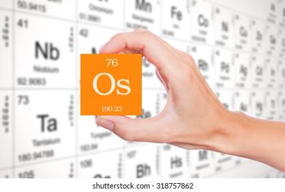 Osmium element periodic table two steel stock illustration 90273832 osmium symbol handheld in front of the periodic table urtaz Choice Image