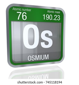 Osmium symbol  in square shape with metallic border and transparent background with reflection on the floor. 3D render.  Element number 76 of the Periodic Table of the Elements - Chemistry