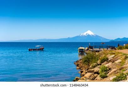 Osorno volcano and Llanquihue lake, Parque, Puerto Varas, Chile. Copy space for text
