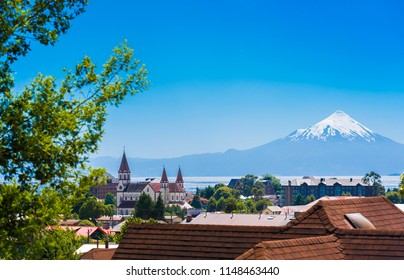 Osorno volcano and Llanquihue lake, Puerto Varas, Chile. Copy space for text