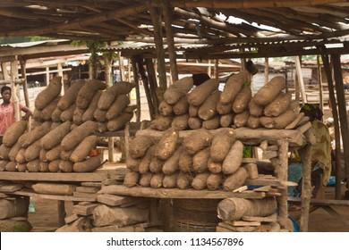 Ososo, Edo State, Nigeria- July 1, 2018: A yam stall in the village market