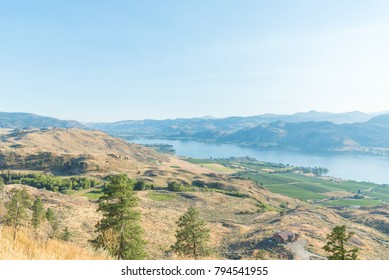 Osoyoos Lake viewed from Anarchist Mountain Viewpoint looking south toward USA border