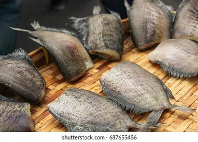 Osphronemidae. T. trichopterus. dried salted damsel fish. Dry leaf fish. Thai food processing. Thailand. Bangkok. Fish.
