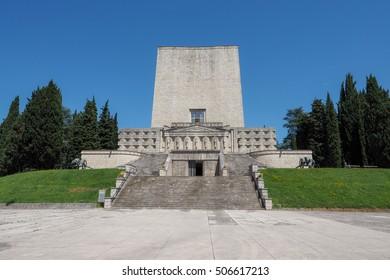 Ossary and memorial for italian soldiers of WWI, located on Montello hills near Nervesa della Battaglia, Veneto