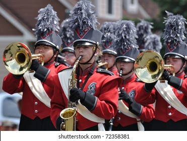 OSSEO, MN - JUNE 26 : Richfield High School Marching Band Perform in the Osseo Marching Band Festival on June 26, 2010 in Osseo, MN