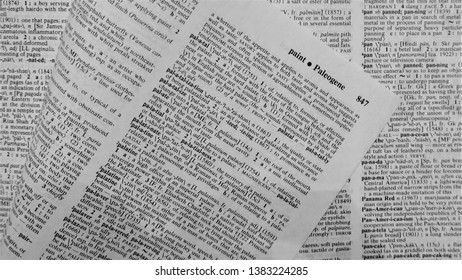 Ossining, NY/US - April 4, 2019: Merriam-Webster Dictionary pages open to letter 'P'.  Page of paper is turned and folded over to show the English letters of the alphabet.  From Paint to Paleogene.