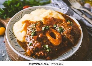 Osso bucco Beef Stew with Polenta