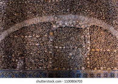 Ossuary de Évora, in the Chapel of Ossos. Portugal