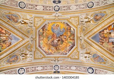 OSSUCCIO, ITALY - MAY 8, 2015: The baroque fresco of Assumption of Virgin Mary in church Sacro Monte della Beata Vergine del Soccorso by Salvatore Pozzi di Puria  (1595 – 1681).
