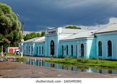 OSTASHKOV / RUSSIA – JULY 15, 2012:  Railway station building.