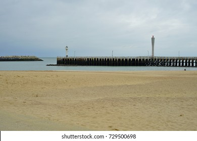 OSTEND, BELGIUM -1 OCT 2017- View of the beach in Ostend, a city on the coast of Belgium along the North Sea.