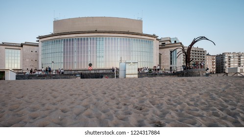 Ostend, Belgium - 2 August 2018: Facade of the Casino building, designed by architect Léon Stynen