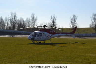 OSTEND, BELGIUM - 26 FEBRUARI 2019: MUG trauma helicopter lands at the Schorre in Ostend