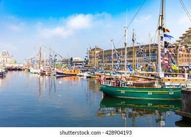 OSTEND, BELGIUM - 28 MAY 2016: Yachts and boats on show during annual Ostend yacht festival called Oostende Voor Anker.