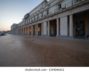 Ostend, Belgium - 7 August 2018: Image of the dike of Ostend, with its neoclassical royal gallery.