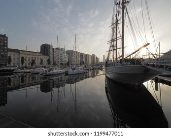Ostend, Belgium - 7 August 2018: Picture the training ship Mercator, located in the marina in Ostend.