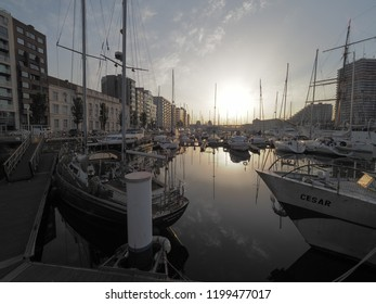 Ostend, Belgium - 7 August 2018: Image of the Mercator marina in Ostend.