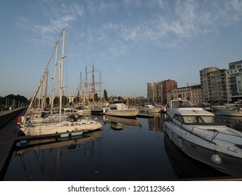 "Ostend, Belgium - 7 August 2018: Image of the marina ""Mercator"" in Ostend."