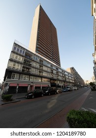 Ostend, Belgium - 7 August 2018: Image of the Europacentrum, with its 103.9 meters the highest residential building in Ostend.