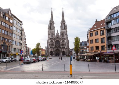 Ostend, Belgium - April 26, 2018: Saint Peter and Paul's Church. This neogothic church replaced here precessor which burned down in 1896