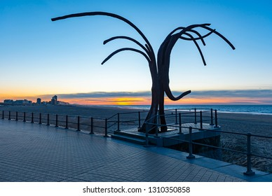 OSTEND, BELGIUM - FEBRUARY 3, 2019: Sunset along the waterfront of Ostend City with its skyline, beach and North Sea as well as the artwork Dancing Waves by Patrick Steen placed in 2008.