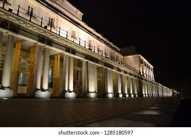 OSTEND, BELGIUM - JANUARY 12, 2019: Thermae Palace building in renovation during night view