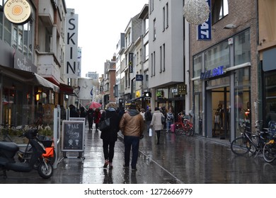 OSTEND, BELGIUM - JANUARY 2, 2019: famous shopping street Kapellestraat in Oostende city center