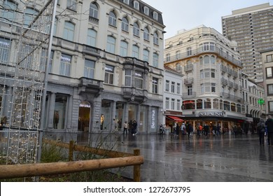 OSTEND, BELGIUM - JANUARY 2, 2019: famous shopping square Wapenplein in Oostende city center