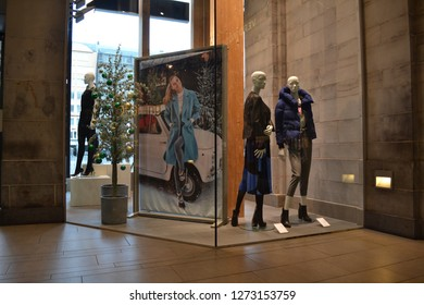 OSTEND, BELGIUM - JANUARY 2, 2019: shop window clothes store chique boutique indoor shopping center