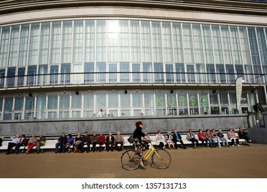 Ostend, Belgium Mar. 30, 2019. People enjoy the sunny weather in beach of Ostend.