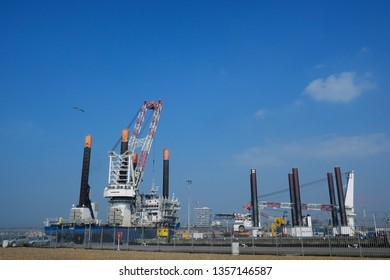 Ostend, Belgium Mar. 30, 2019.  View of oil extraction platform in port of Ostend.