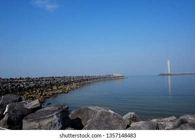Ostend, Belgium Mar. 30, 2019. View of breakwater in port of Ostend.