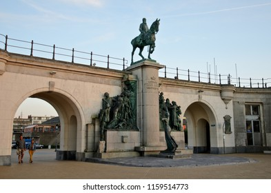 Ostend, Belgium - September 9, 2014: Equestrian statue of King Leopold II