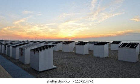 Ostend, Belgium - September 9, 2014: Cabins for changing clothes