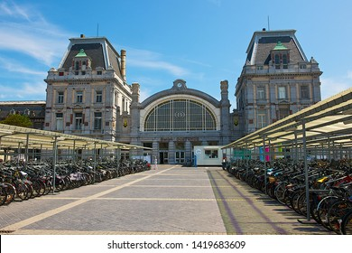 Ostend, Belgium-07 24 2014: The Oostende railway station is located in Ostend in West Flanders, Belgium.The first station in Ostend was opened in 1838 during the reign of Leopold I of Belgium.