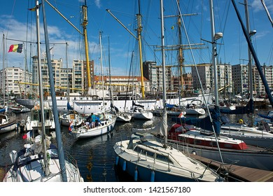 Ostend, Belgium-07 25 2014:Sailboats moored in the Ostend marina.Ostend is is a Belgian coastal city located in the province of West Flanders.The city of Ostend is the largest on the Belgian coast.