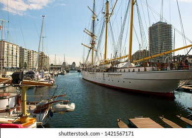 "Ostend, Belgium-07 25 2014:The barquentine ''Mercator'' moored in the Ostend marina. The ""Mercator"" was built as a training ship for the Belgian merchant fleet, In 1961 she became a floating museum."