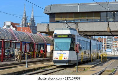 OSTEND, BELGIUM-SEPTEMBER 13, 2014: Kusttram or The Coast Tram at the Railway Station. The line serves to connect cities on entire coast of Belgium and is 68 km long.