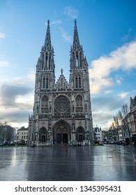 OSTEND,BELGIUM - DECEMBER, 2017 - Amazing view at the Church of Saint Peter and Paul in Ostend. Ostend is a Belgian coastal city and municipality.