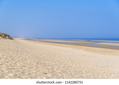 Ostende in Belgium, beautiful beach, panorama in summer, with Oostende in background