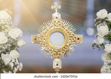 Ostensory for worship at a Catholic church ceremony, corpus christi, catholic symbol, holy hour