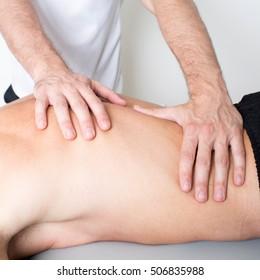 Osteopath applying myofascial release