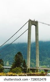 Osteroy suspension bridge in Norway, only road connection island with the mainland east area of Bergen