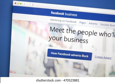 Ostersund, Sweden - Aug 18, 2016: Facebook business page on a computer screen. Facebook is the most visited social network in the world.
