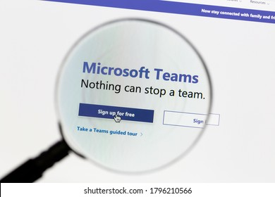 Ostersund, Sweden - August 15, 2020: Microsoft Teams website under a magnifying glass. Teams is a unified team communication and collaboration platform.