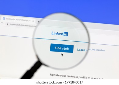Ostersund, Sweden - August 5, 2020: Linkedin website under a magnifying glass. Linkedin is a business oriented social networking website.